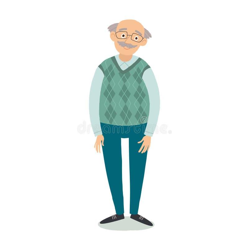 Position d'homme supérieur Verres de port de vieil homme Grand-père avec les cheveux gris, moustache, chandail de port Grand-papa illustration de vecteur