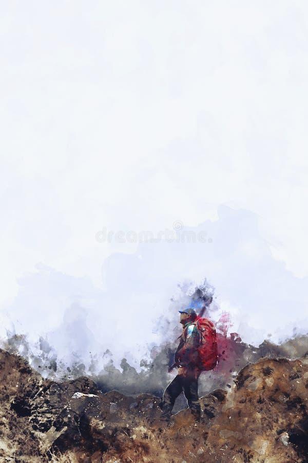 Position d'homme sur la roche avec le sac à dos et l'éclaboussure de l'encre sur le fond blanc, image numérique monotone d'aquare images stock