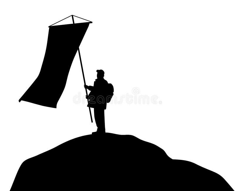 Position d'homme sur le dessus de montagne et tenir le grand drapeau illustration de vecteur