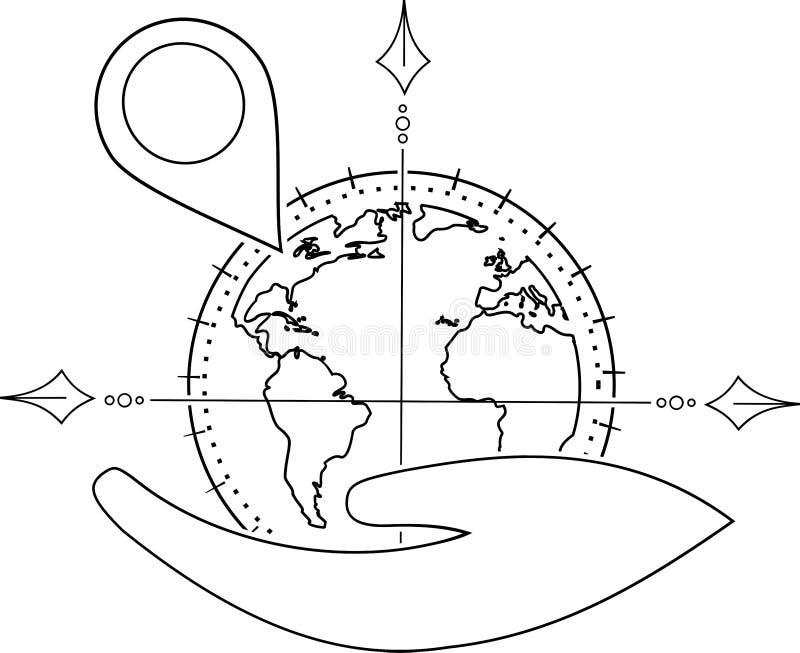 Position d'un emplacement sur un globe dans une main illustration libre de droits