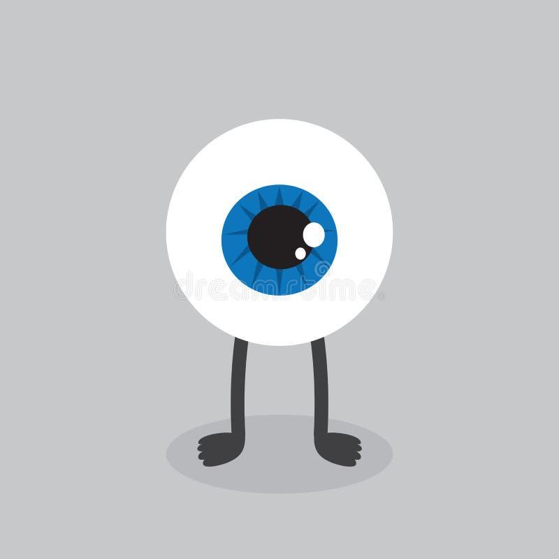 Position de caractère de globe oculaire illustration de vecteur