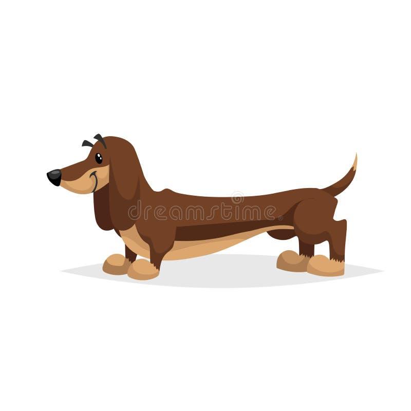 Position de chien de teckel de bande dessinée Illustration de race de vecteur de gradient simple Caractère comique de chien Anima illustration libre de droits