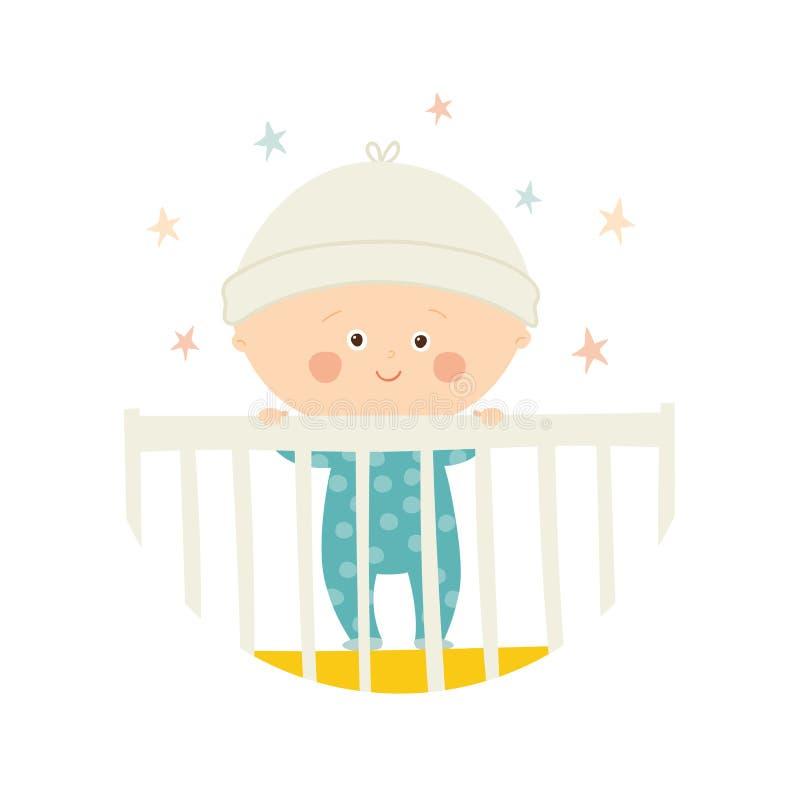 Position de 1 an de bébé mignon dans la huche Élément de conception de fête de naissance illustration stock
