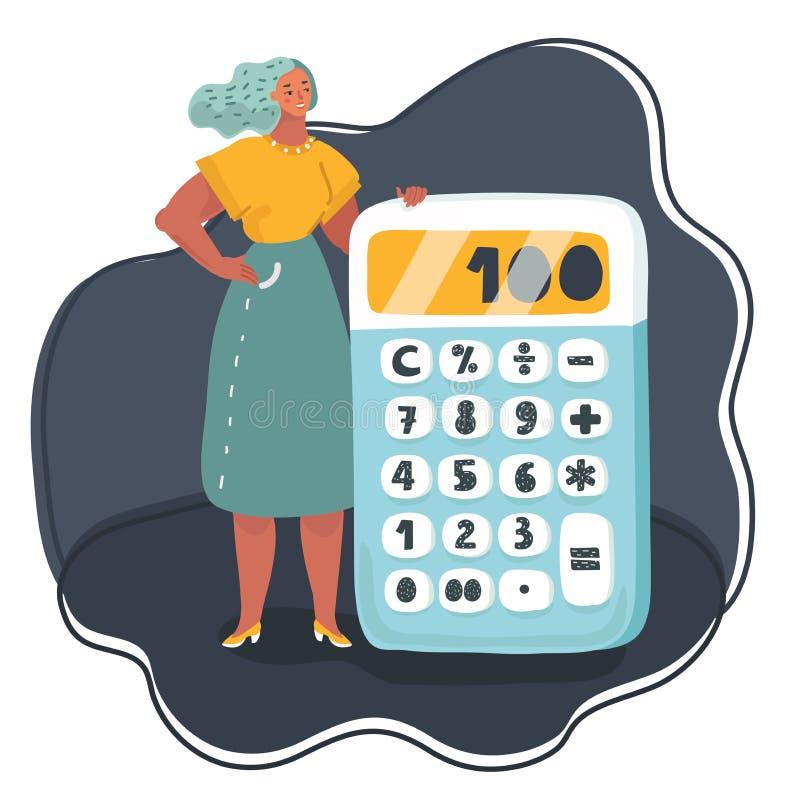 Position de femme d'affaires près de grande calculatrice illustration stock