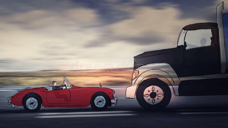 Position de femme derrière le volant d'une voiture rouge avant d'entrer dans un accident de la route avec un grand camion Effrayé photographie stock