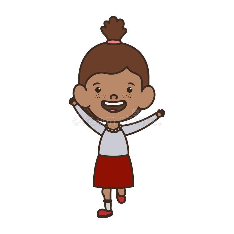 Position de fille d'étudiant souriant sur le fond blanc illustration stock