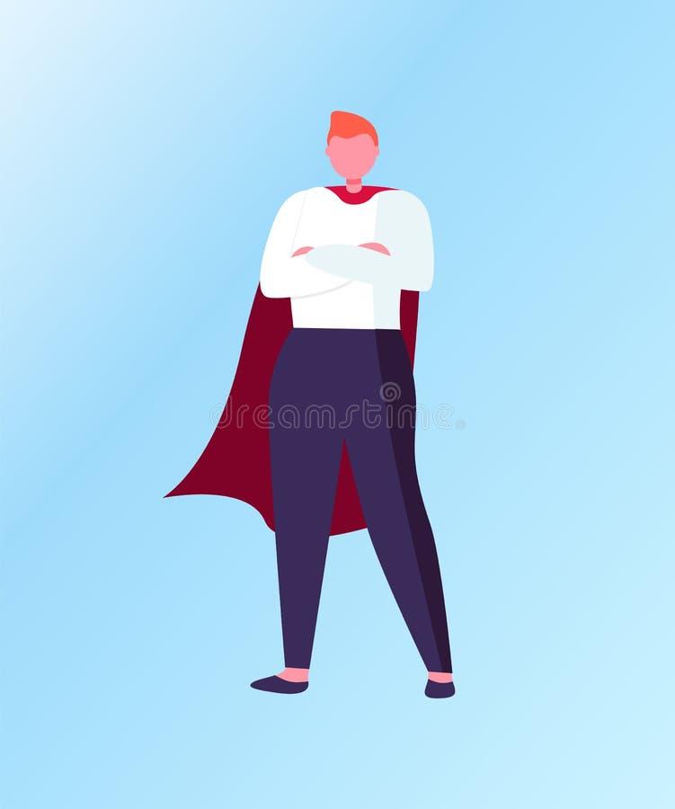 Position de gagnant dans le costume de super héros, vecteur d'affaires illustration libre de droits