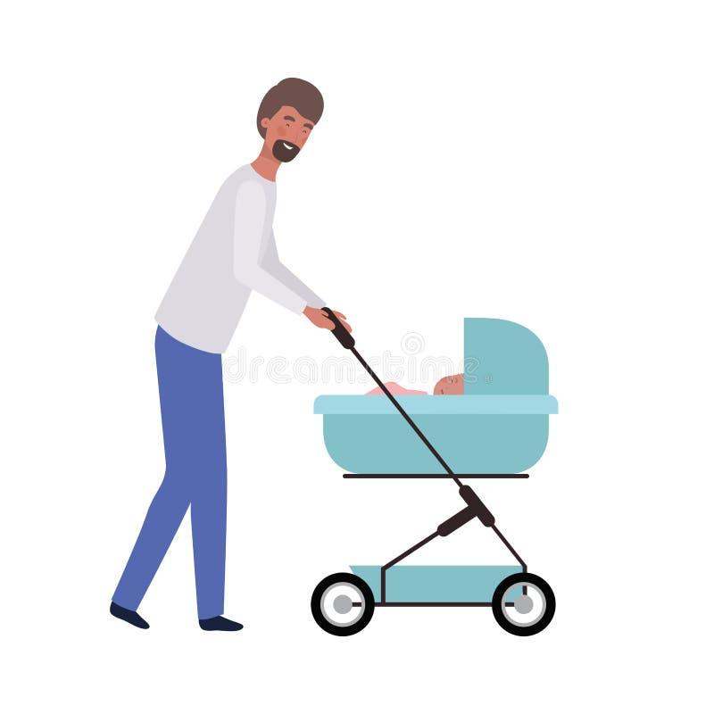 Position de jeune homme avec le bébé nouveau-né dans le landau illustration stock