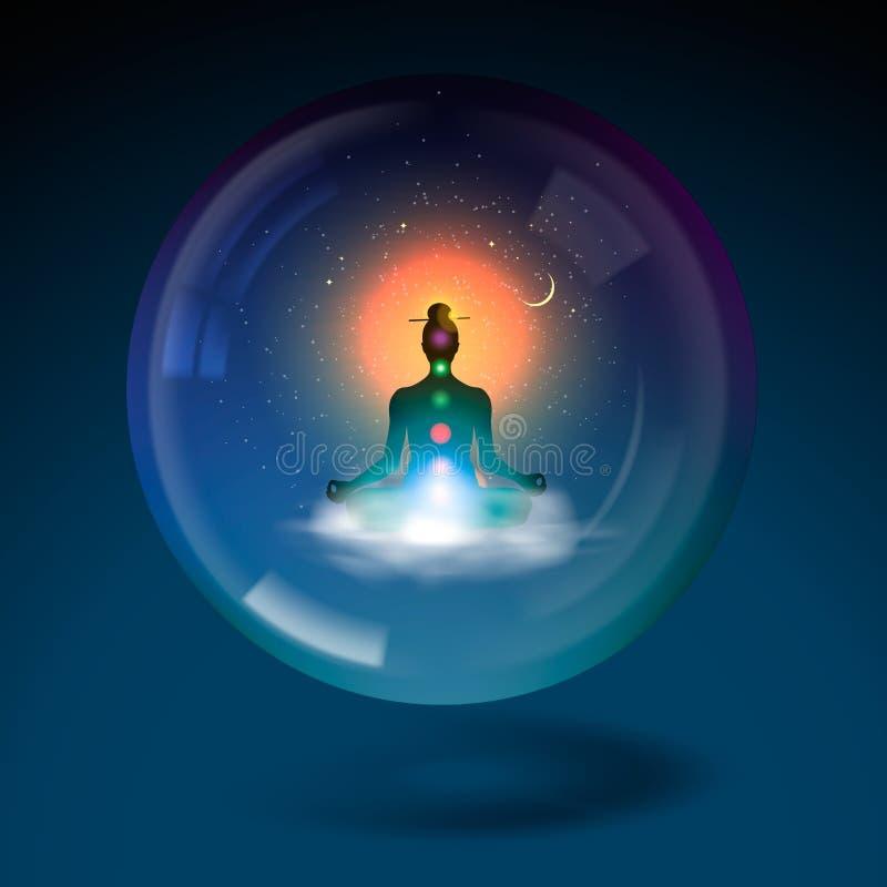 Position de lotus se reposante de silhouette dans la sphère. illustration libre de droits