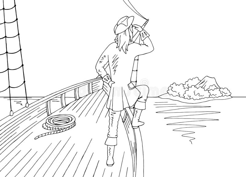 Position de marin sur la proue du bateau et de regarder le vecteur blanc noir graphique d'illustration de croquis de paysage d'îl illustration stock
