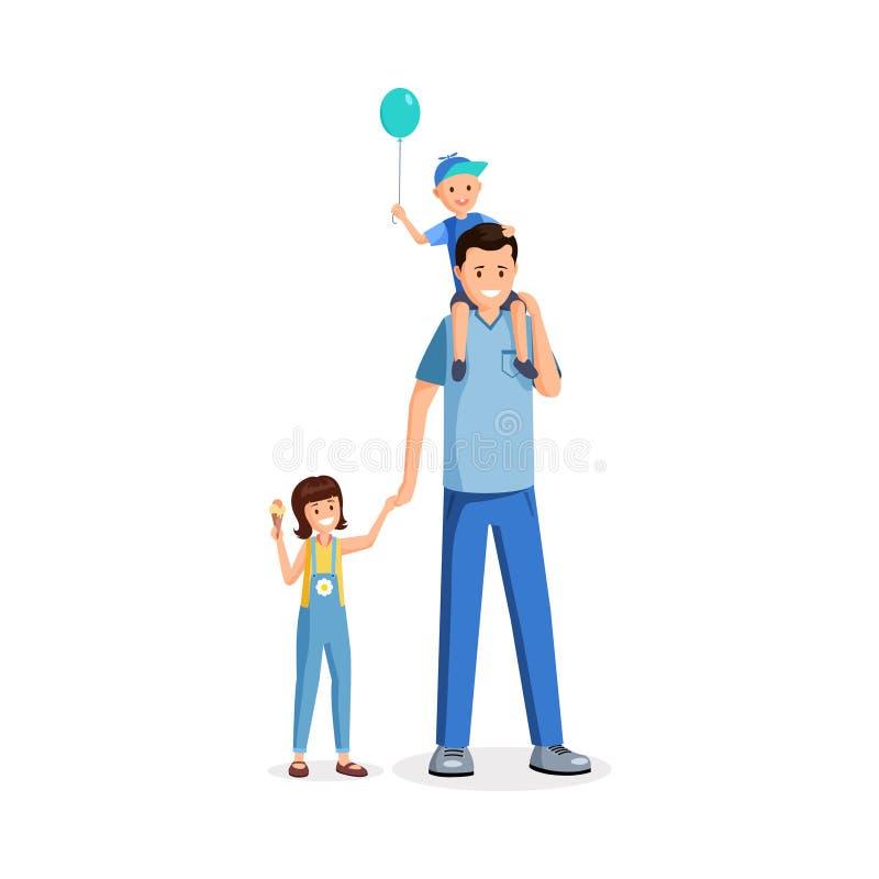 Position de père avec l'illustration plate de vecteur d'enfants Babysitter, jeune parent célébrant des vacances de famille avec d illustration de vecteur