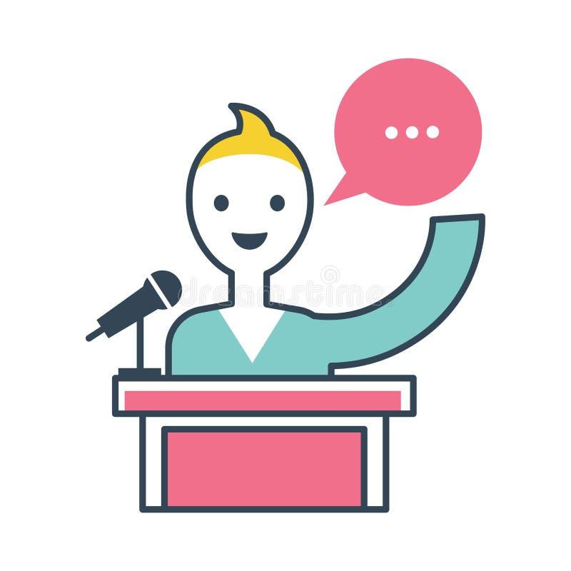 Position de personne et parler de ses pensées et avis illustration de vecteur