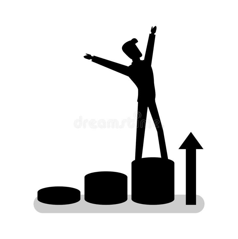 Position de personne sur l'étape de cercle, vecteur de silhouette illustration libre de droits