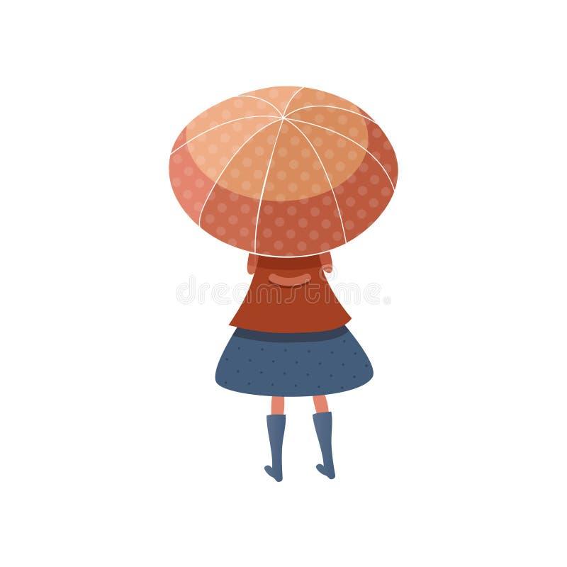 Position de petite fille sous le parapluie rouge, vue arrière Enfant dans l'imperméable, la jupe et les bottes Temps d'automne Ve illustration stock
