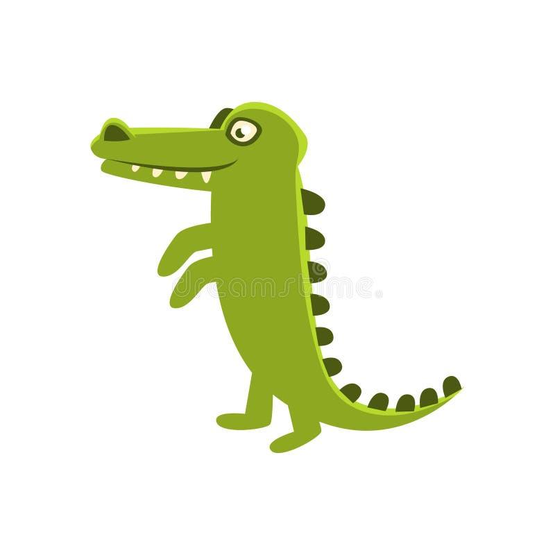 Position de sourire de crocodile droite, personnage de dessin animé et son illustration quotidienne d'activité d'animal sauvage illustration de vecteur
