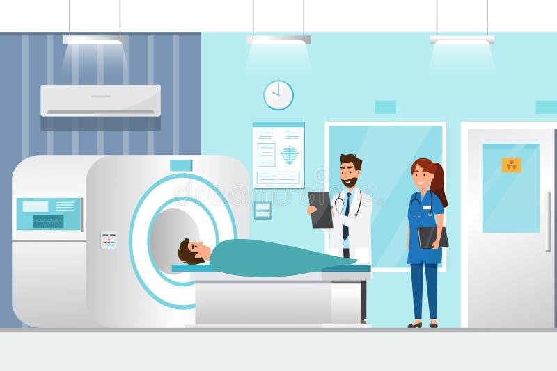 position et homme de docteur se couchant pour le rayon X avec la machine de scanner d'IRM photo libre de droits