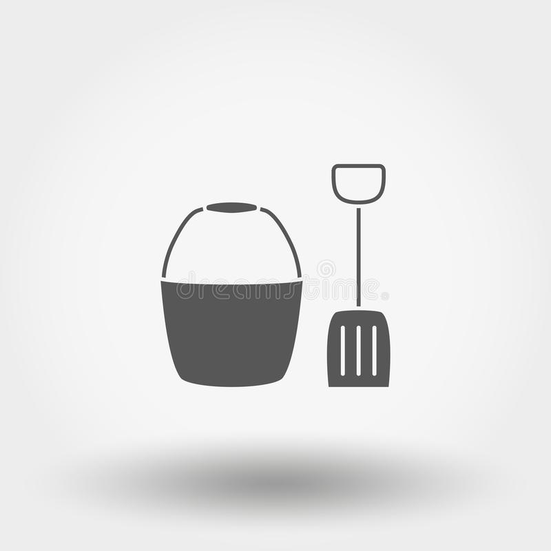 Position et pelle jouet graphisme Vecteur Silhouette Conception plate illustration de vecteur