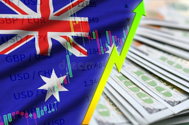Position för US dollar för för Australien flagga och diagram växande med en fan av dollarräkningar royaltyfri illustrationer
