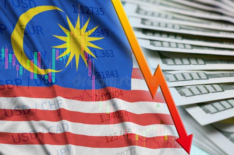 Position för US dollar för för Malaysia flagga och diagram fallande med en fan av dollarräkningar royaltyfri illustrationer