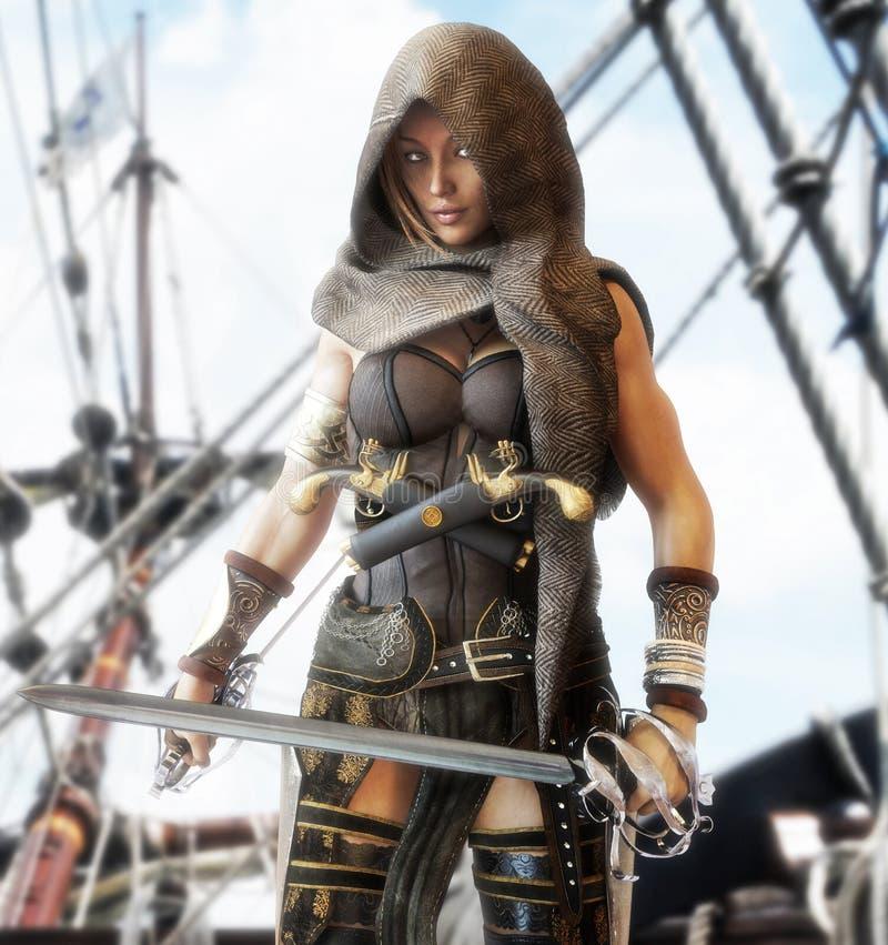 Position femelle de pirate mystérieux sur la plate-forme d'un bateau avec des sabres d'abordage de duel à disposition illustration de vecteur