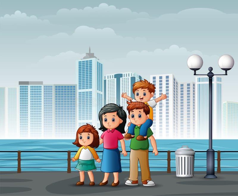 Position heureuse de famille ? la rive ? travers les villes illustration stock
