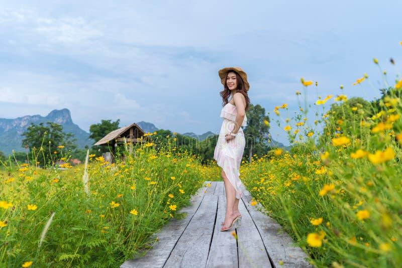 Position heureuse de femme sur le pont en bois avec le gisement de fleur jaune de cosmos photos stock
