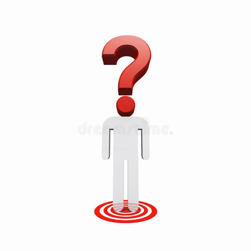 Position humaine conceptuelle de point d'interrogation sur la tache de cible illustration de vecteur