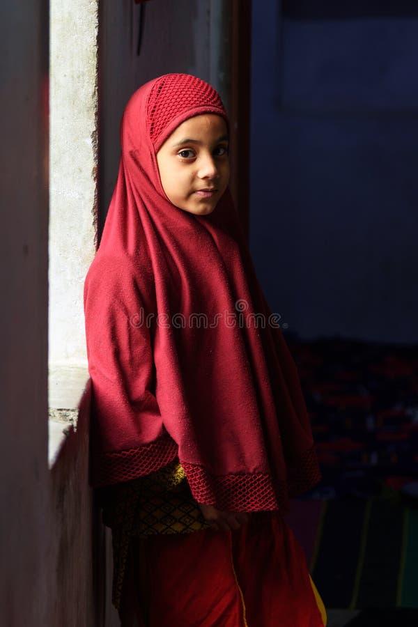 Position indienne de jeune fille de muslum ? la fen?tre ? Amer Rajasthan l'Inde images libres de droits