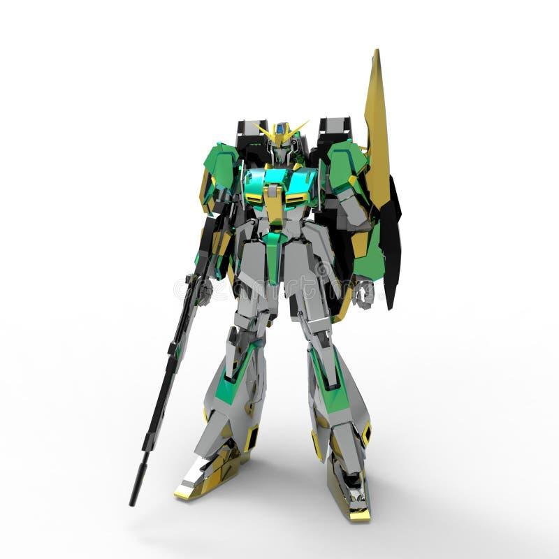 Position mech de soldat de la science fiction sur un fond blanc Robot futuriste militaire avec un vert et un m?tal gris de couleu illustration libre de droits