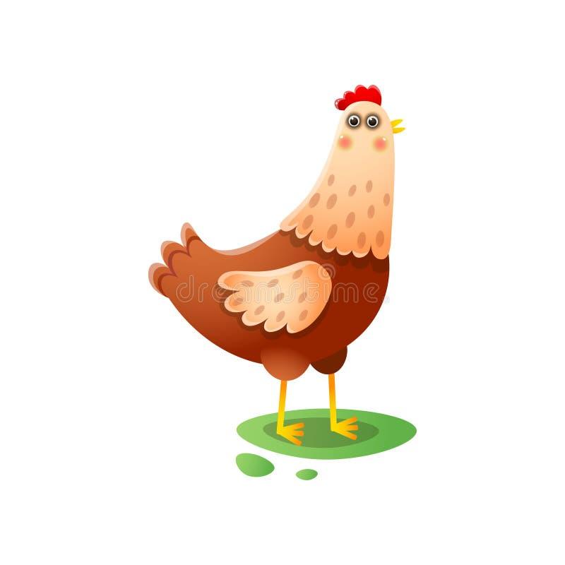 Position mignonne de poule de kawai marchant sur la basse cour verte illustration stock