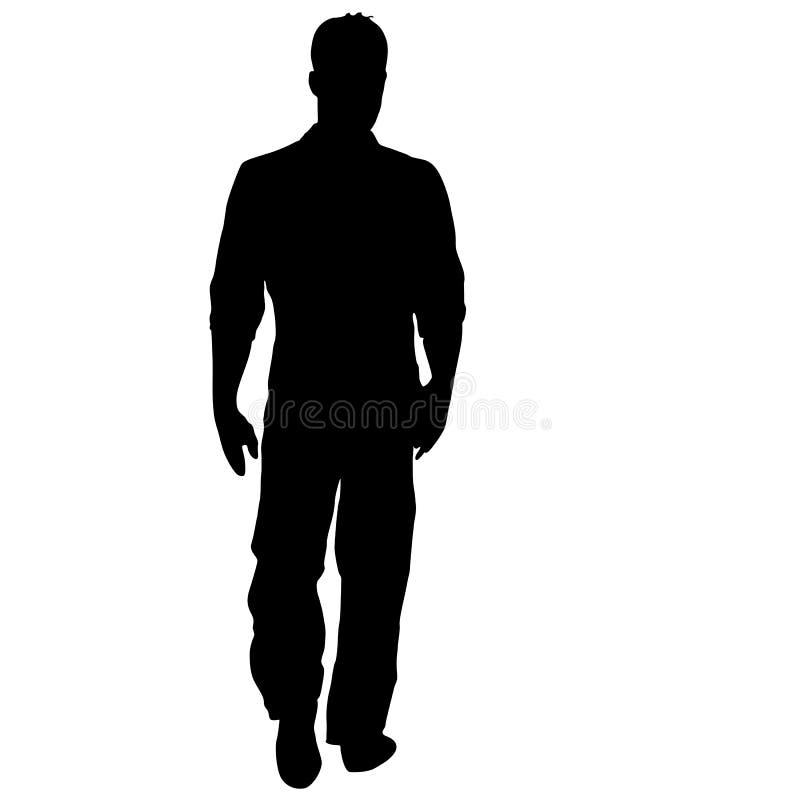 Position noire d'homme de silhouette, les gens sur le fond blanc illustration libre de droits