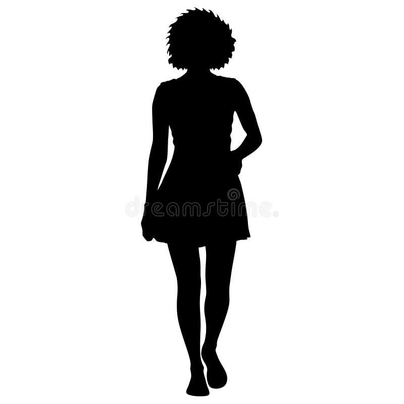 Position noire de femme de silhouette, les gens sur le fond blanc illustration stock