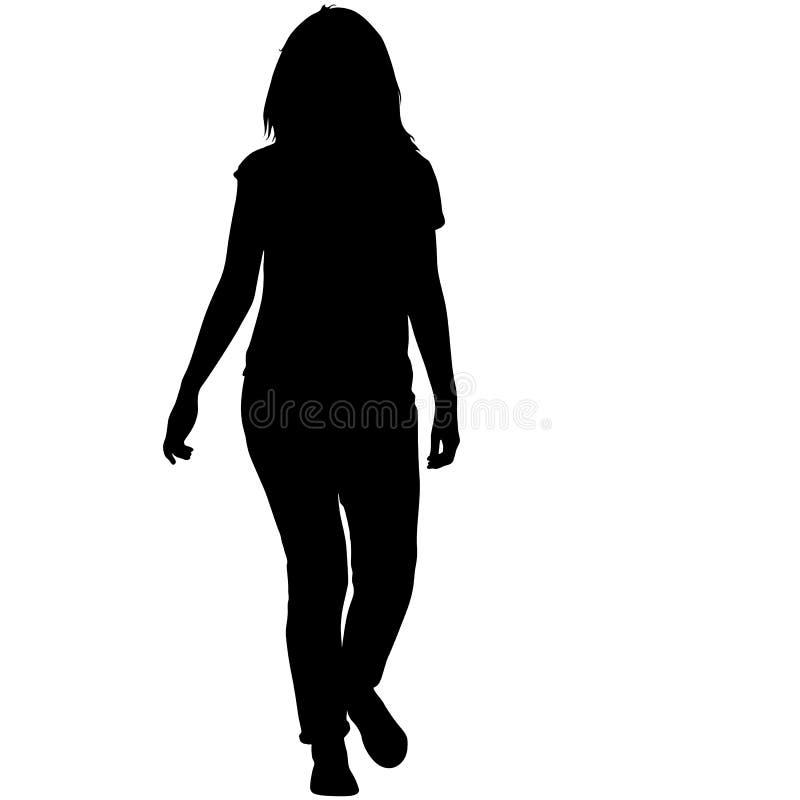 Position noire de femme de silhouette, les gens sur le fond blanc illustration libre de droits