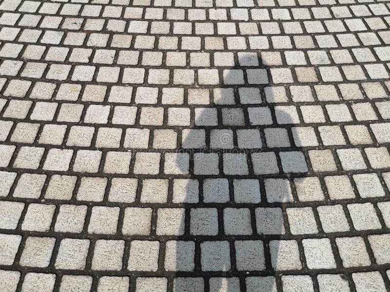 Position noire de l'ombre de la femme sur le modèle gris de courbe de pavé rond pavant sur la rue photos libres de droits