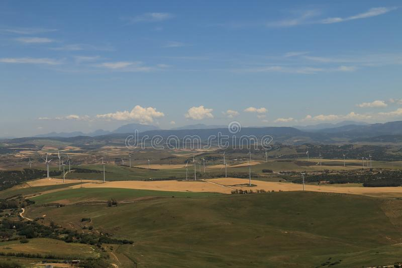 Position panoramique d'oeil du ` s d'oiseau adoptée du château de la Médina Sidonia, Espagne du sud photos stock