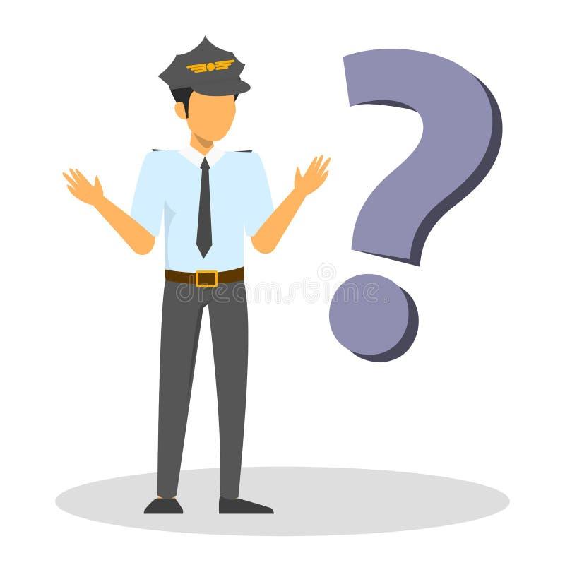 Position pilote avec le grand point d'interrogation Demandez au professionnel illustration stock