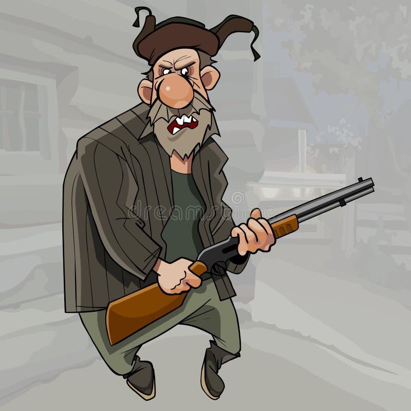 Position première génération barbue fâchée de bande dessinée avec une arme à feu illustration stock