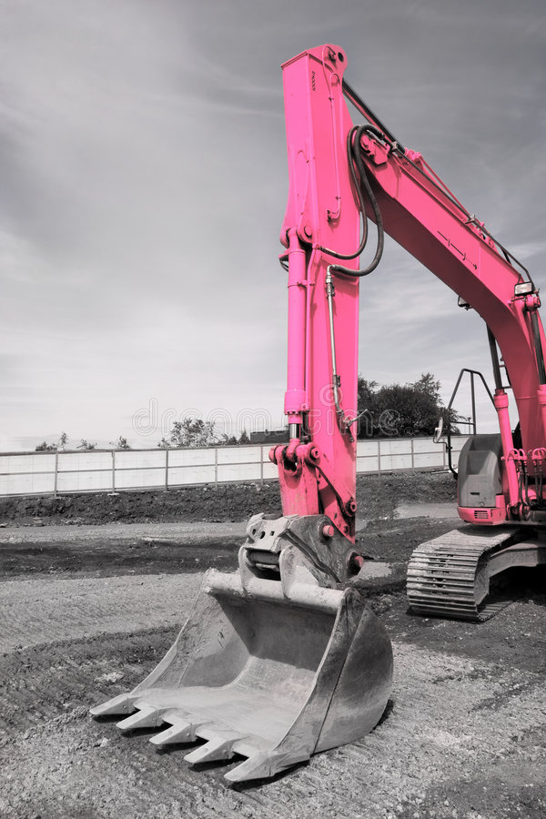 Position rose d'excavatrice image stock