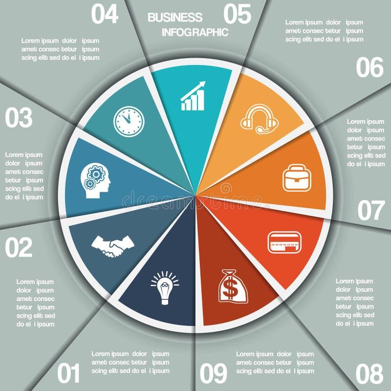 Positioner för mall nio för Infographic pajdiagram stock illustrationer