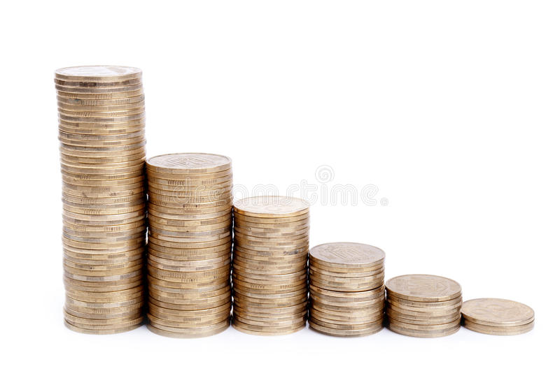 Positioning Diagram Of The Coins Royalty Free Stock Photography