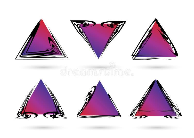 Positionnement abstrait de trame Cadres abstraits avec des triangles de gradient de couleur Formes géométriques illustration de vecteur