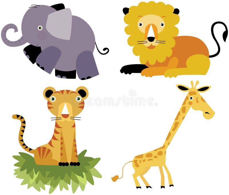 Positionnement animal de vecteur de dessin animé de safari illustration de vecteur