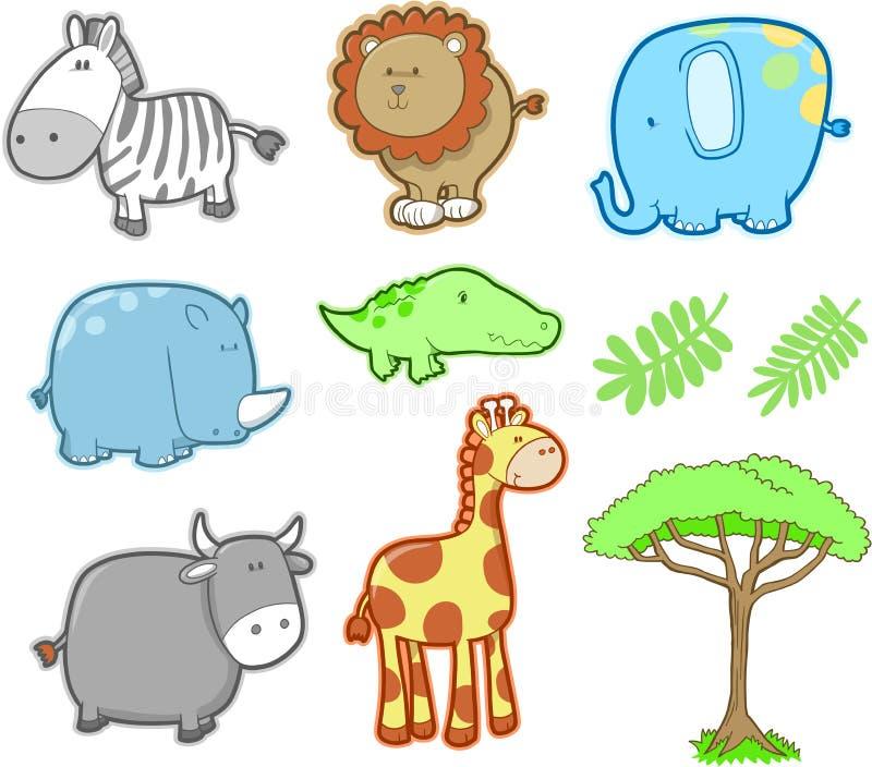 Positionnement animal de vecteur de safari illustration de vecteur