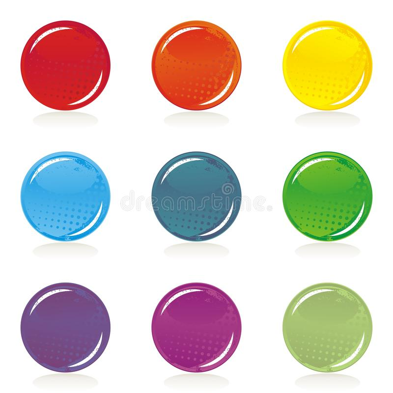 Positionnement blanc coloré brillant de bouton illustration stock
