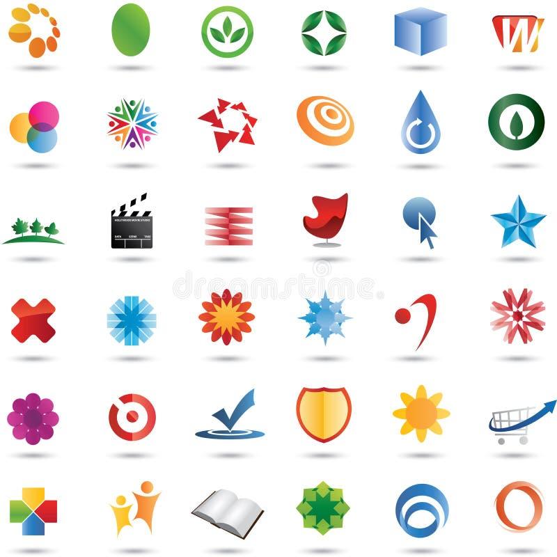 Positionnement coloré de conception de logo de 36 vecteurs illustration de vecteur