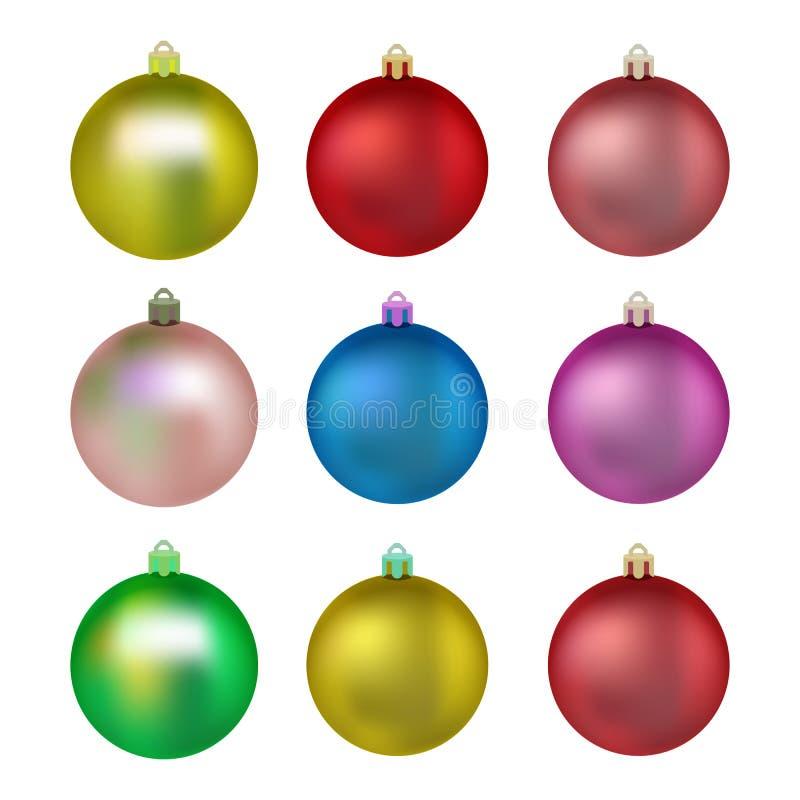 positionnement coloré de Noël de billes Boules pour l'arbre de Noël Décoration réaliste d'isolement par illustration de vecteur illustration libre de droits
