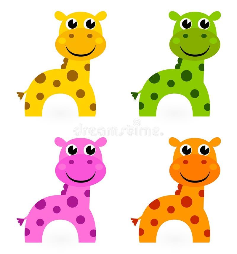 Positionnement coloré drôle de giraffe illustration stock