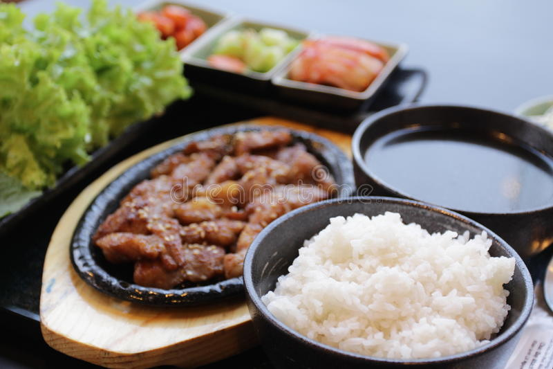 Positionnement coréen de nourriture photographie stock libre de droits