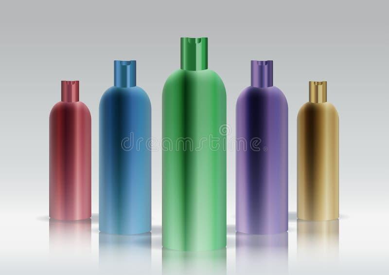 Positionnement cosmétique coloré de bouteille illustration de vecteur