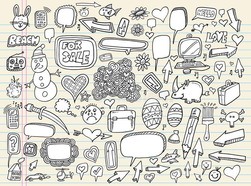 Positionnement d'éléments de conception de bulle de la parole de griffonnage illustration libre de droits